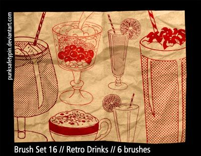 Brush Set 16 - Retro Drinks