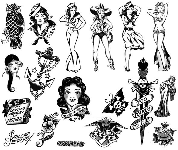 Free Photoshop brush set: Sailor Jerry tattoo designs