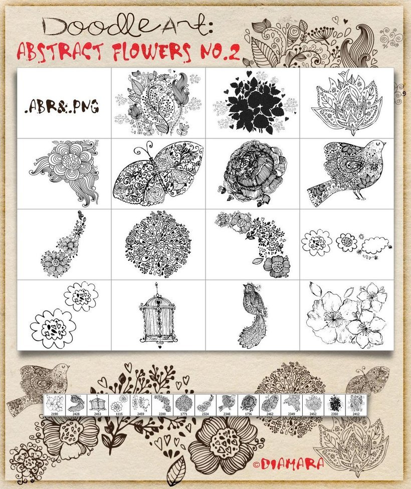 Abstract Flowers No2 DoodleArt
