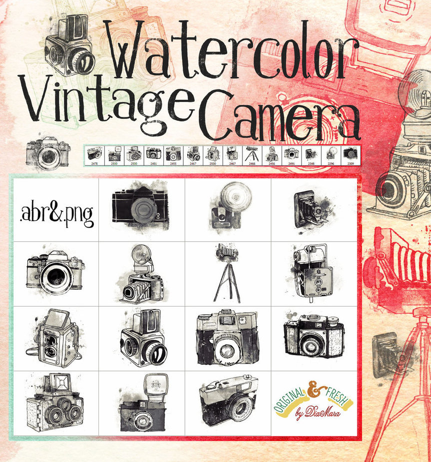 Watercolor Vintage Camera