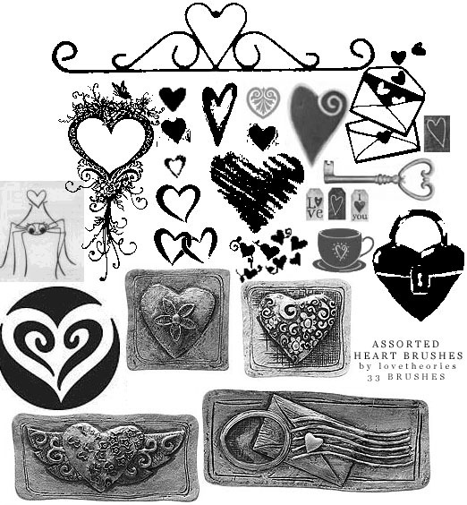 Assorted heart brushes