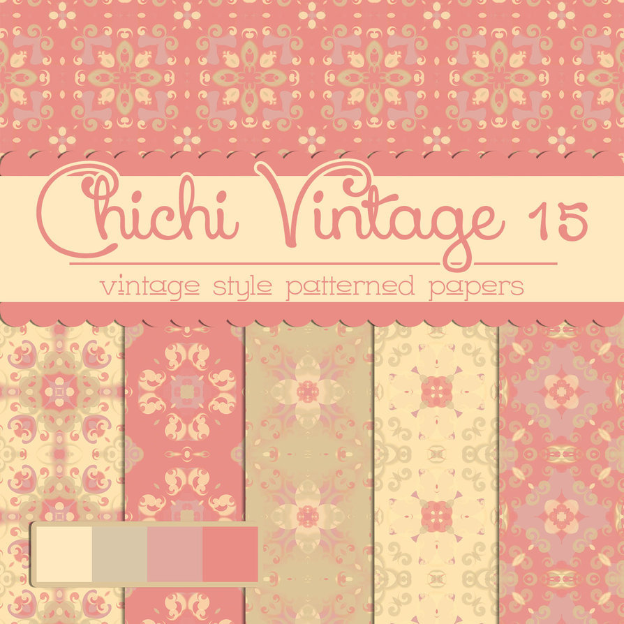 Free Chichi Vintage 15 Patterned Papers
