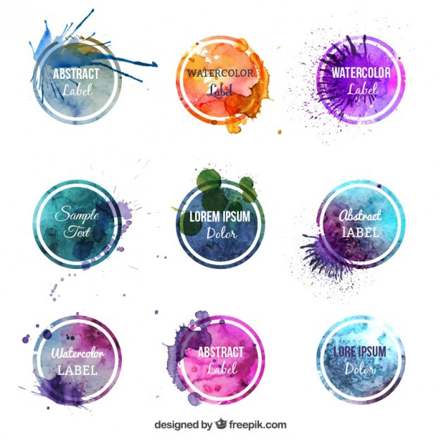Colorful Watercolor Labels Vector