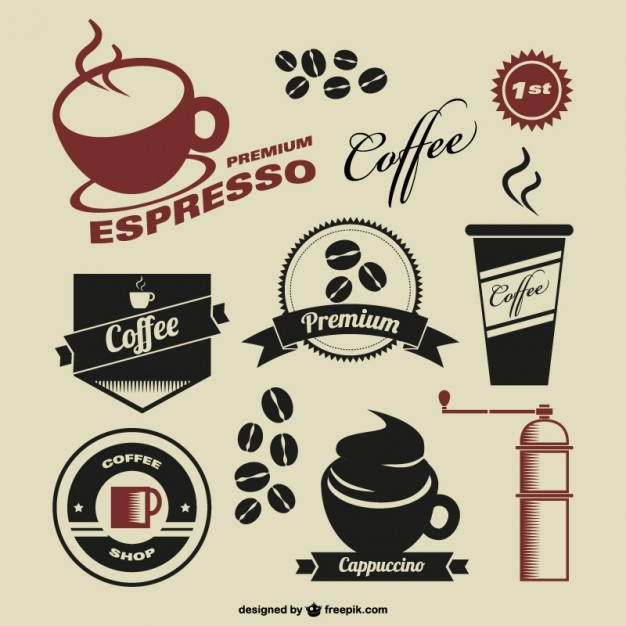 Coffee shop vintage symbols