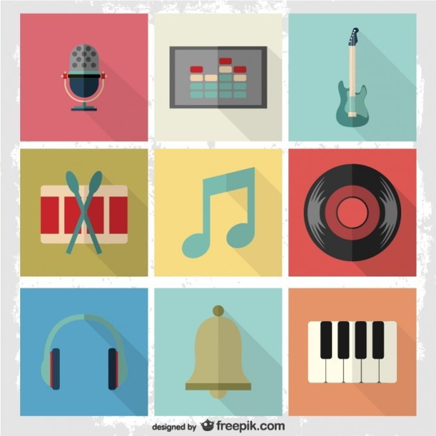 Music flat pictograms set