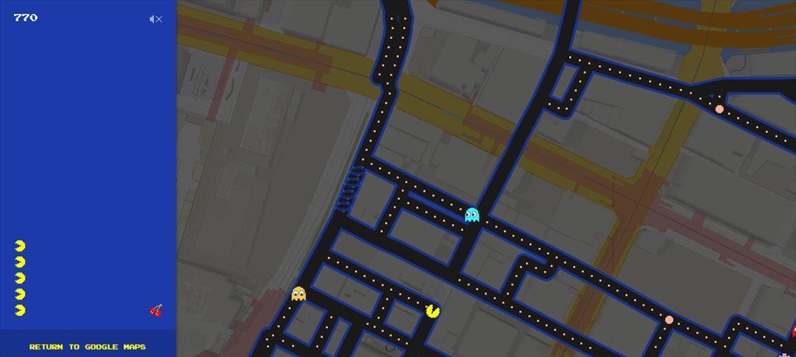 Googleマップがパックマン仕様に