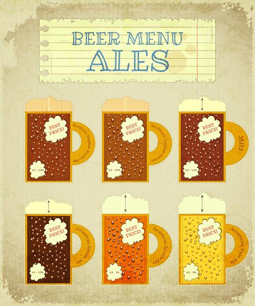 Pub beer menu retro style vector 04