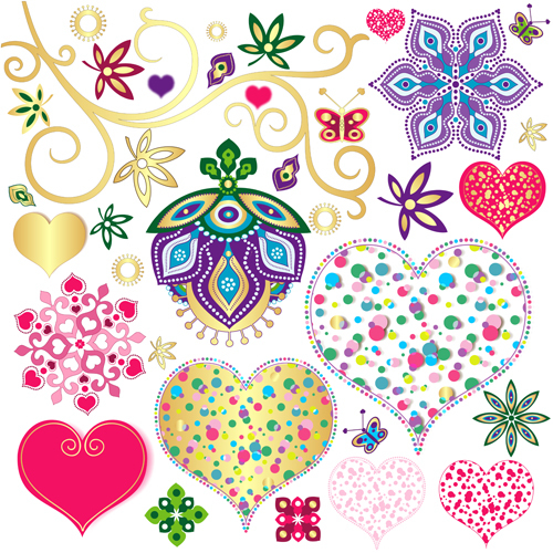 Floral with heart pattern vector material