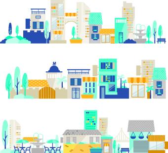 Cartoon city vector illustration 01
