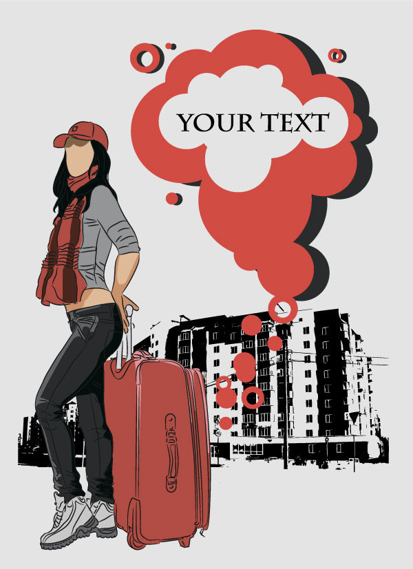Fashion People Illustration free vector 02