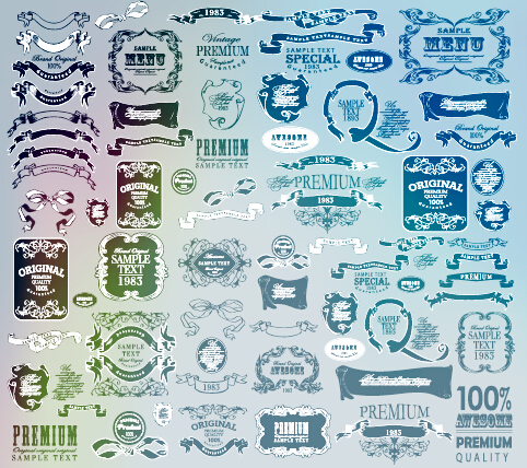 Vintage calligraphic ribbon with labels vector 01