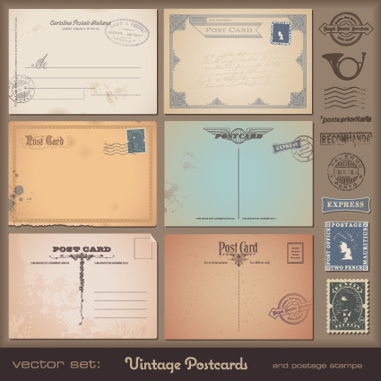 Vector set of Vintage postcard with stamps elements 05