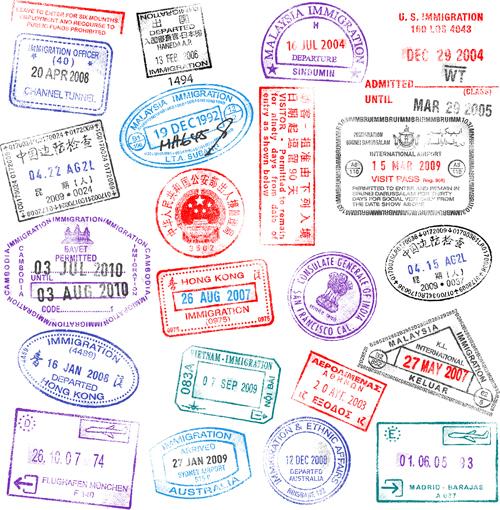 Vector Passport stamps design set 04