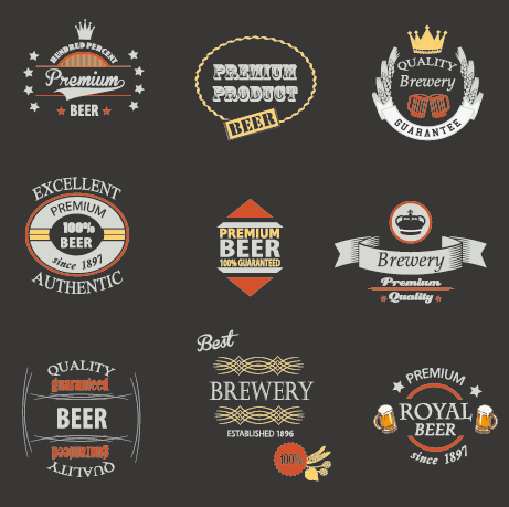 Vintage royal beer labels with badges vector 03