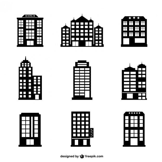 .Hotel buildings vector set