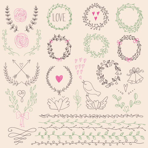 Hand drawn floral frame with border vector 01