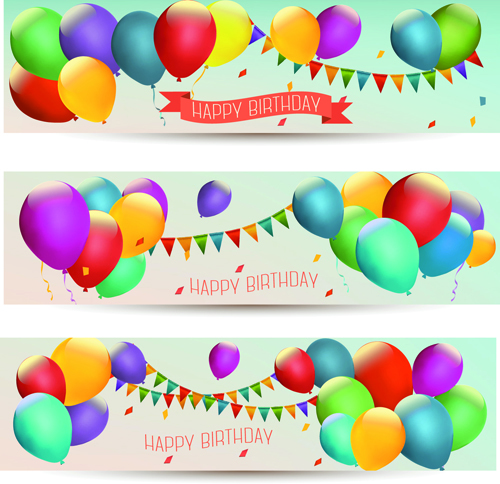 Colored balloons holiday banner vector 01