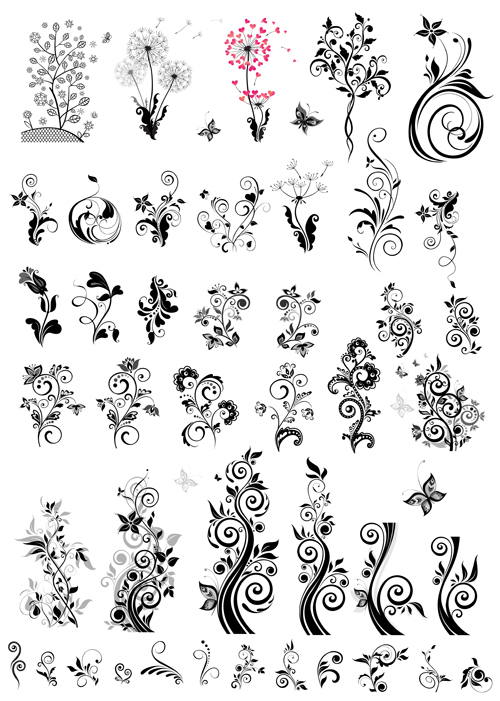 Decoration with ornaments floral vector graphics