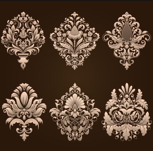 Ornamental floral damask elements vector material 01