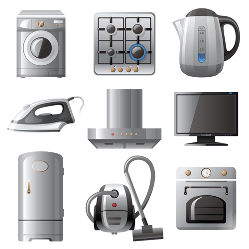 Realistic household appliances vector illustration 01