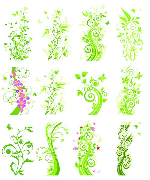 Floral green ornaments vector set 01