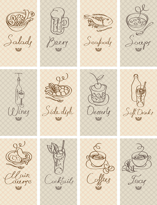 Hand drawn food cards design material
