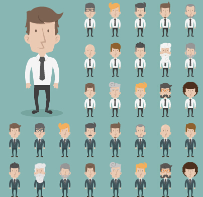 Funny business people character creative vector 05