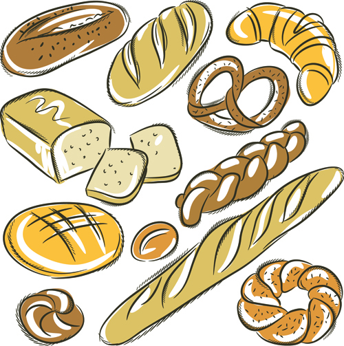 Hand drawing bread vector material