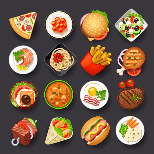 Different tasty food set vector 02