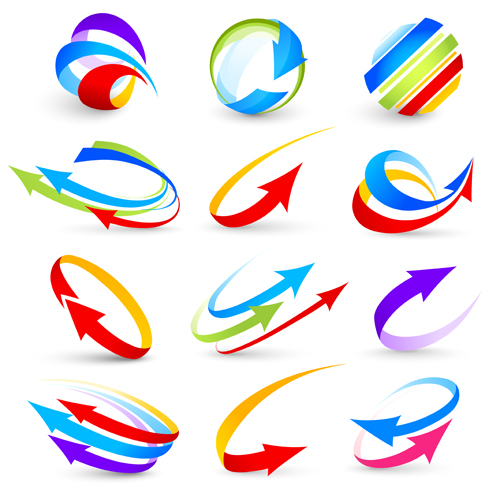 Abstract colorful arrows vector graphics