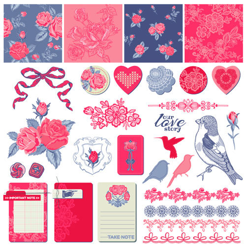 "Love elements ornament kit vector"""
