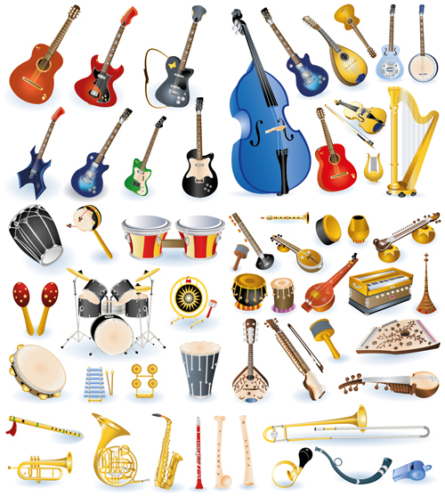 Vector set of musical Instruments graphics 02