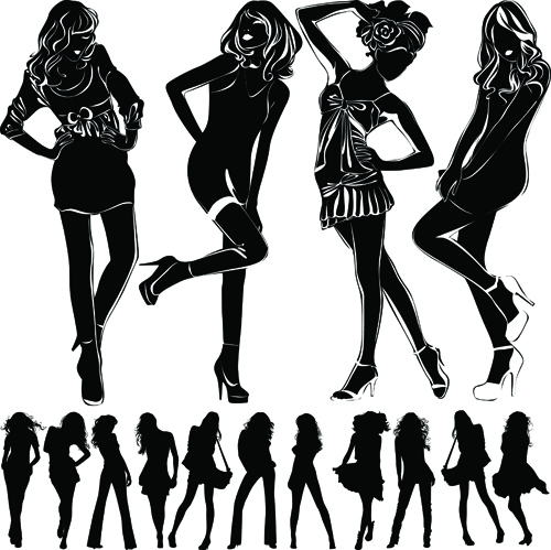 Beautiful girls silhouette design vector material 05