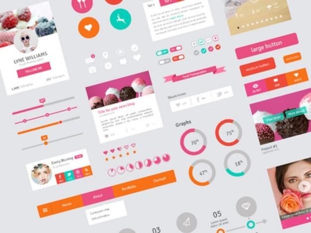 フラットなデザインのユーザー·インタフェース·テンプレートト