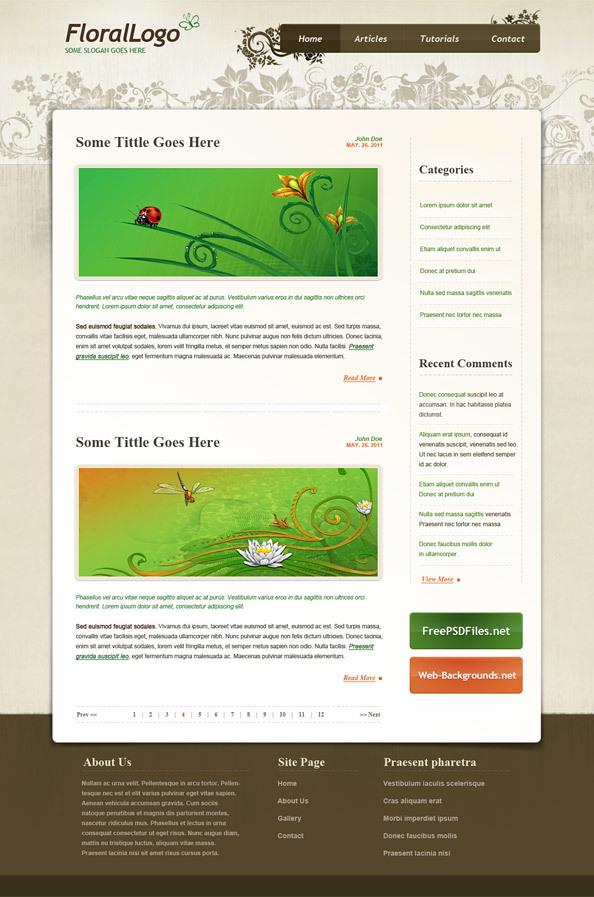Floral PSD Website Template ト