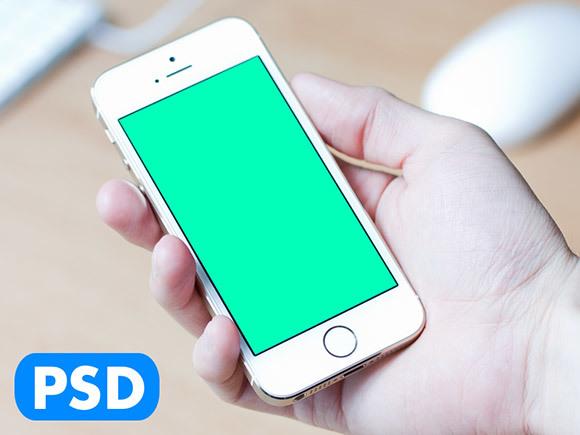 iPhone5S holding hand mockup