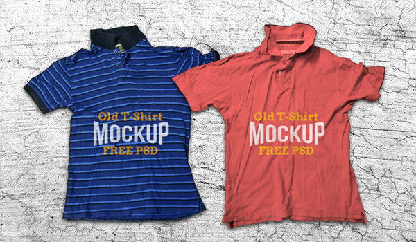 Old Crumpled T-Shirt Mockp PSD