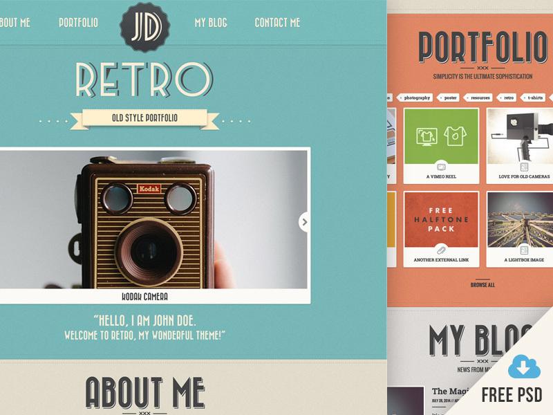 New Retro Portfolio [v4] – Free PSDト