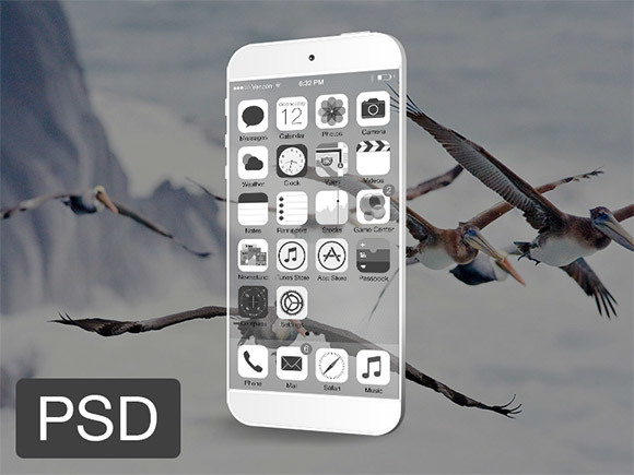 Transparent iPhone phone psd templates