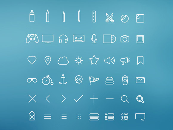 Simple outline icons psd material
