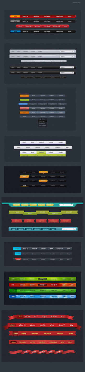 Creative web navigation psd material set