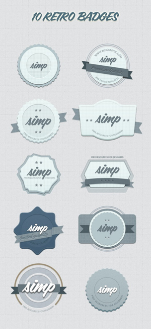 10 Kind Retor Badges psd material