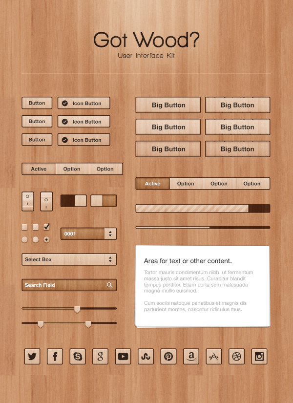 Wood UI kit psd material