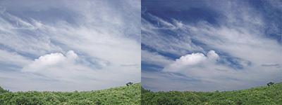 空の色を見たままの印象に補正する方法