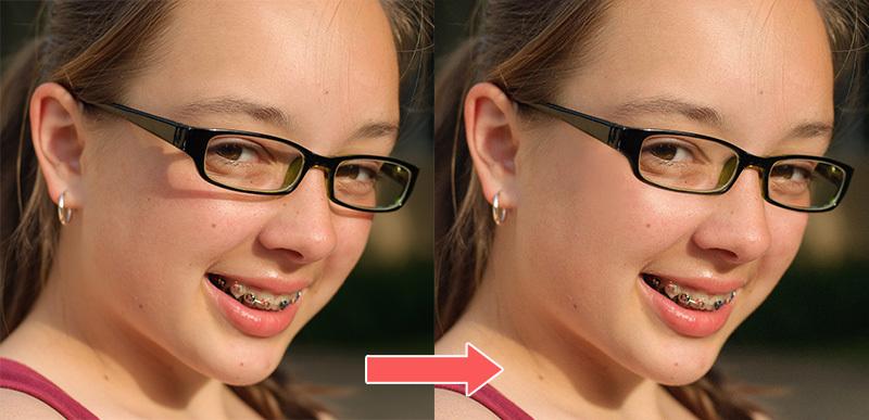 メガネの影を取り除く方法