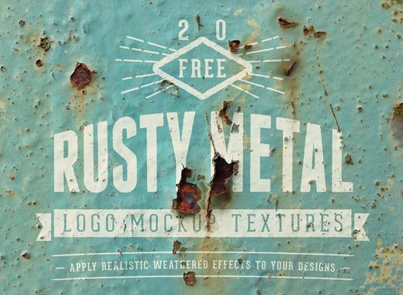 Rusty Metal Logo Mockup Textures
