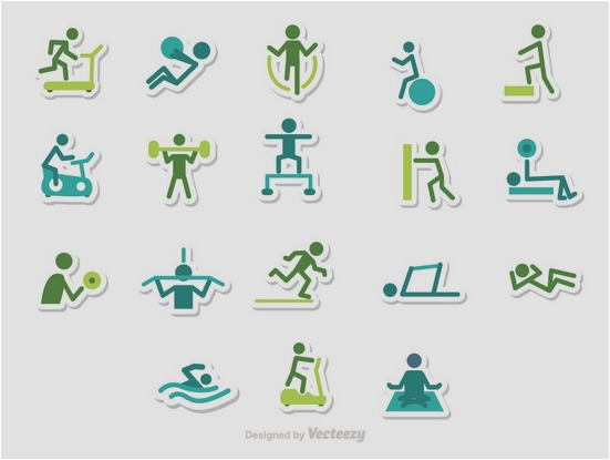 Fitness Stick Figure Icons Vector Pack