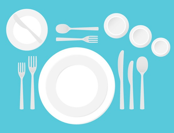 dinner table setting vector