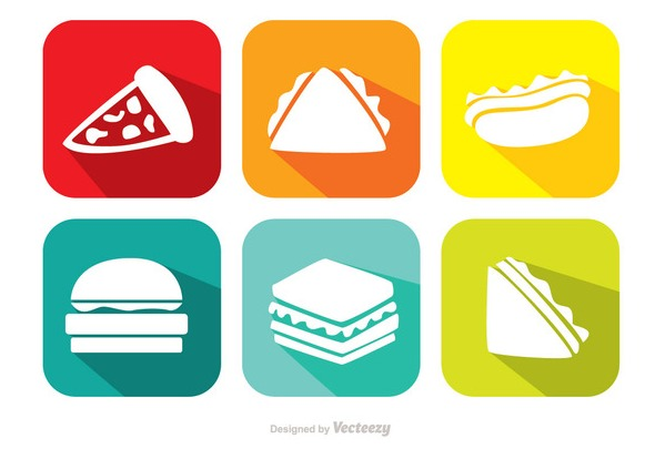 Bright Food Vector Icons