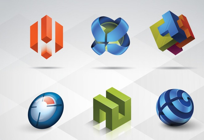 3d logo templates set